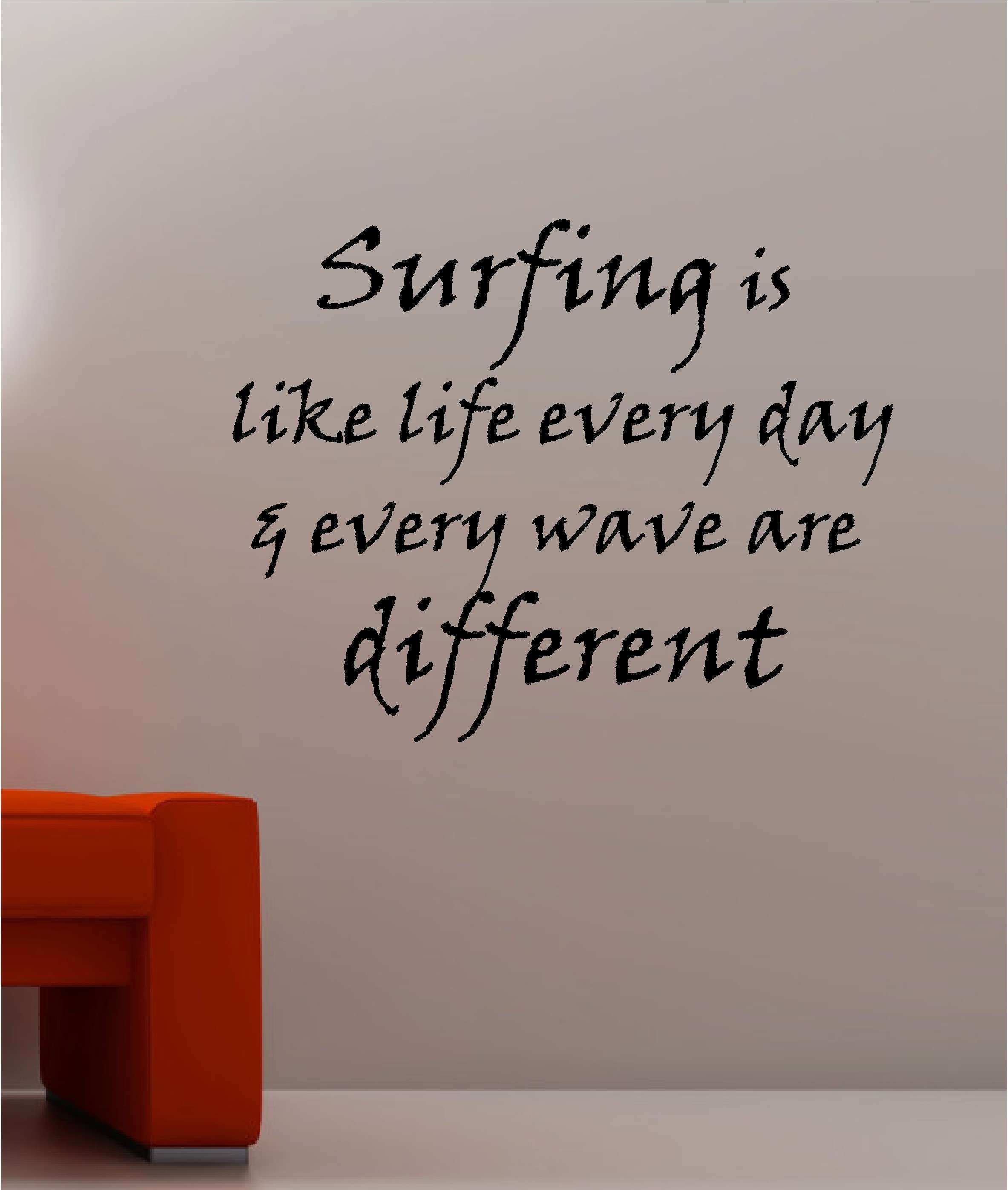 SURFING LIFE quote wall art sticker vinyl LOUNGE SURF