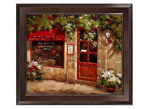 Café Door Framed Canvas Wall Art