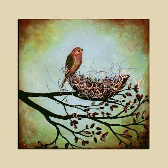 Abstract Nest in Tree Branches and Bird Painting by