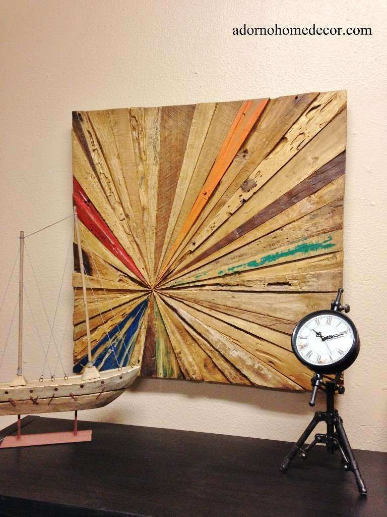 Rustic Reclaimed Teak Wood Abstract Wall Decor Art Antique