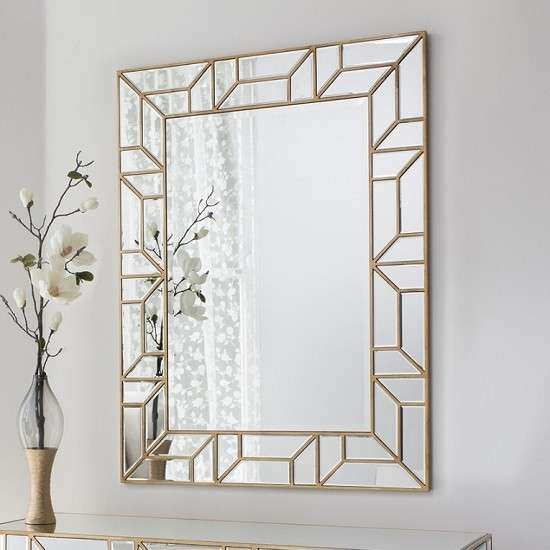 Dresden Decorative Wall Mirror Rectangular In Painted Gold