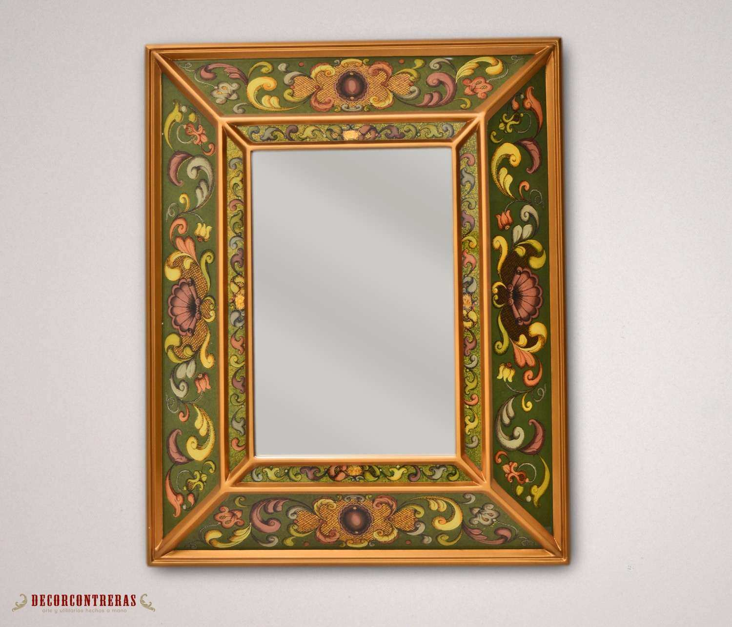Green & gold Rectangle Wall Mirror Home Decor by