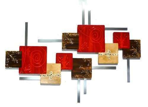 HUGE Red N Brown CONTEMPORARY abstract Wood and Metal Wall