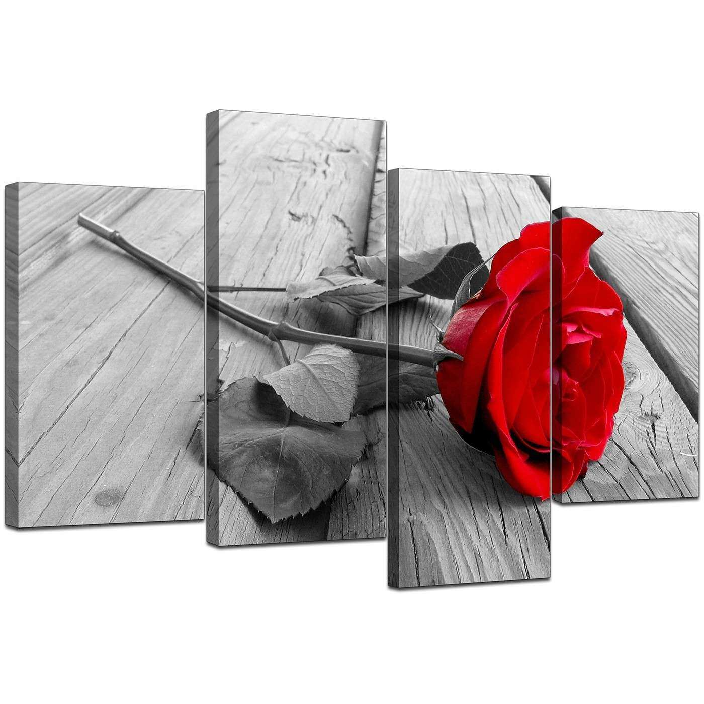 Floral Canvas Wall Art in Red Black and White For Living