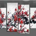 Red And Gray Wall Art Lovely Red Chinese Blossom Tree Split Panel Canvas Wall Art Of Red And Gray Wall Art