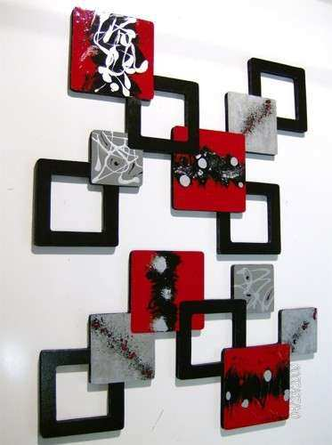 2pc Red Black Gray Geometric Squares Wall Sculpture