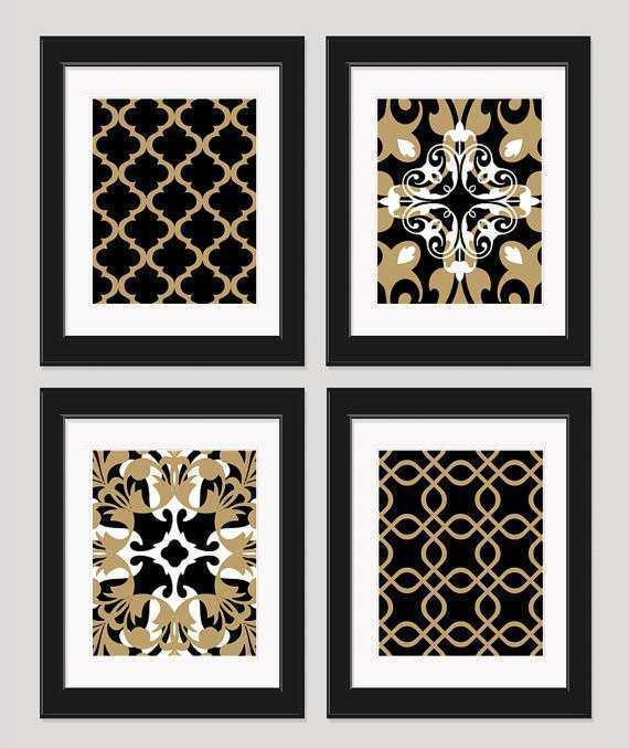 Red Black And White Wall Decor Inspirational Items Similar To Black White  Gold Art Black Gold