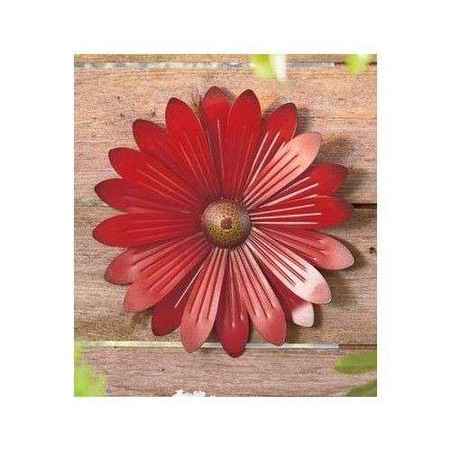 Red Metal Flower Wall Decor Floral Hanging Sculpture