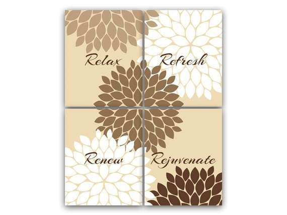 Bathroom Wall Art Relax Refresh Renew Rejuvenate Modern