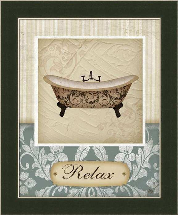 Relax by Jennifer Pugh Bathroom Décor Sign Framed Art