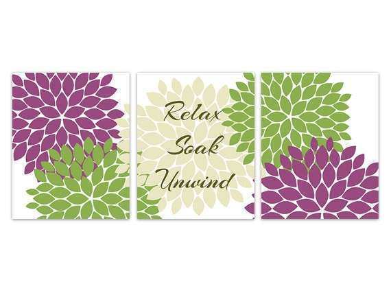 Bathroom Wall Art Relax Soak Unwind Purple and Green