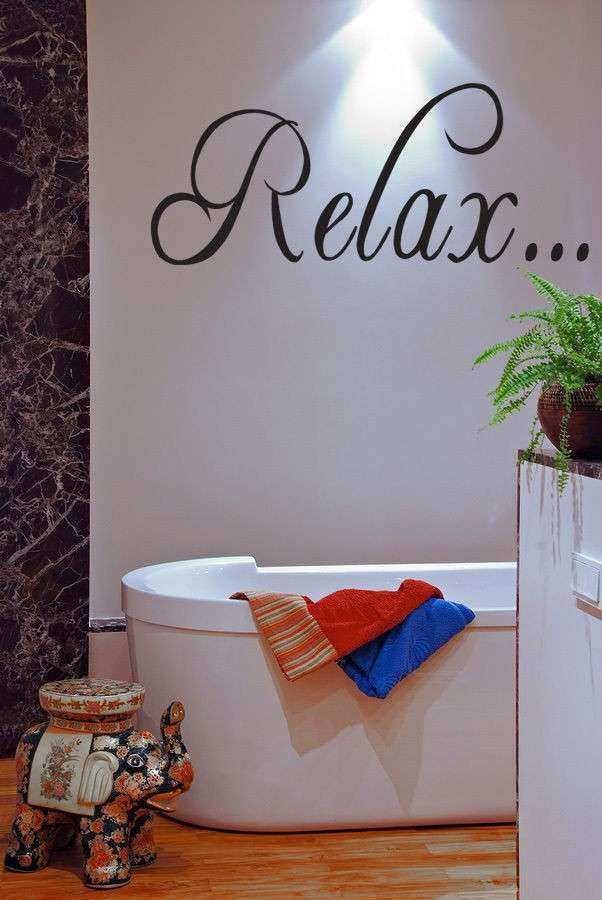 RELAX Bathroom Tub Wall Quote Decal Saying Wall