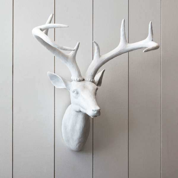 Faux Taxidermy Adornments white resin stag head