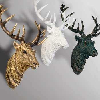 Hot Sale Home Decor Deer Heads Wall Hanging Resin Animal