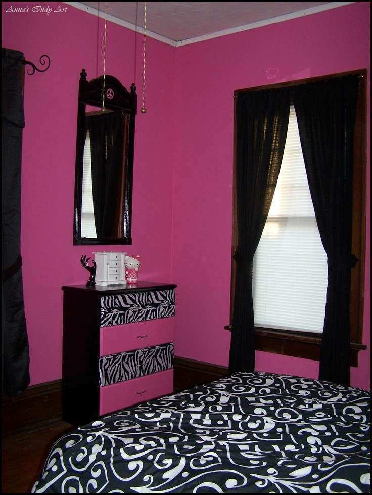 Upcycled dresser in a pink and black room