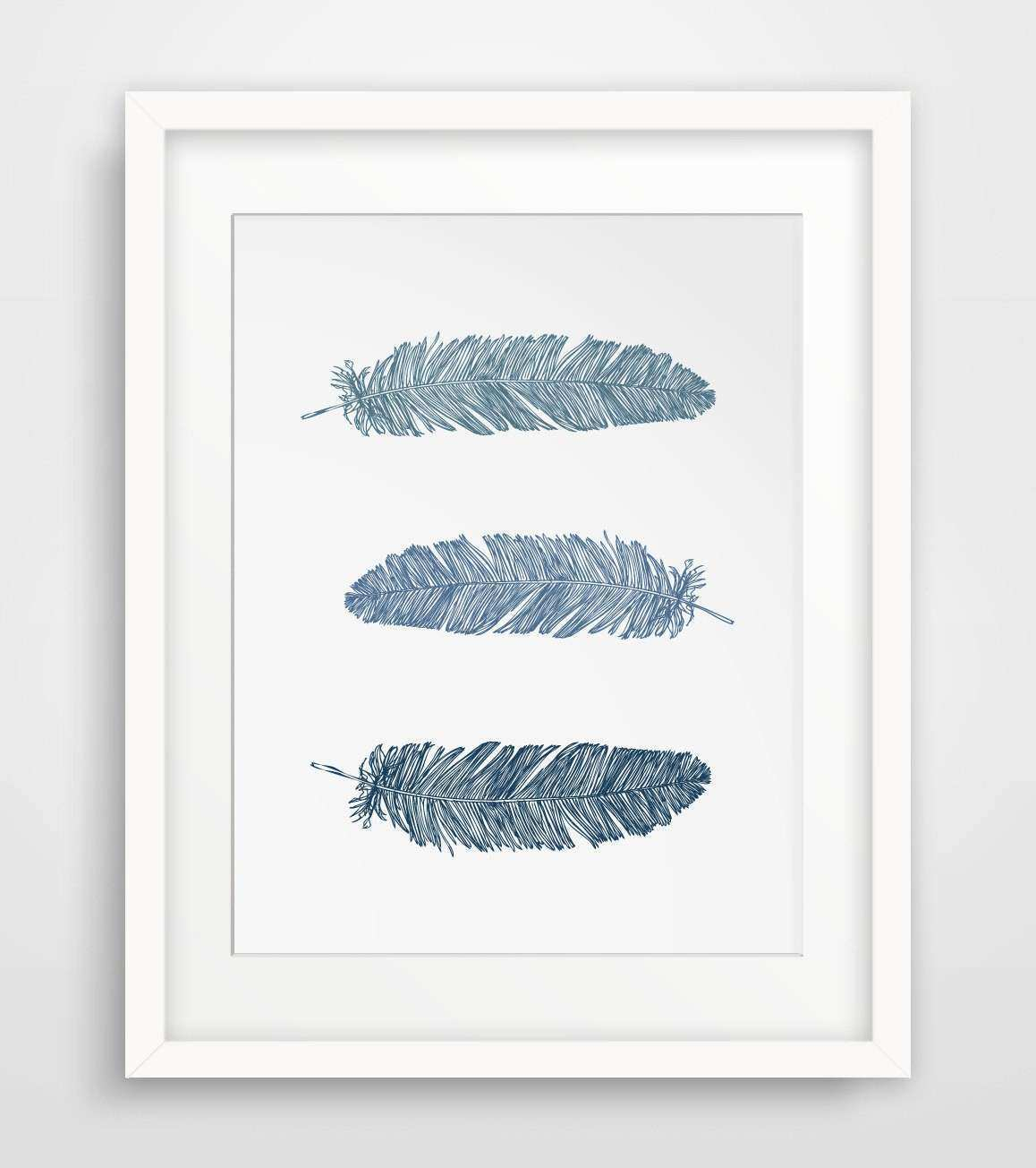 Wall Art Designs Printable Wall Art Navy Blue Feather