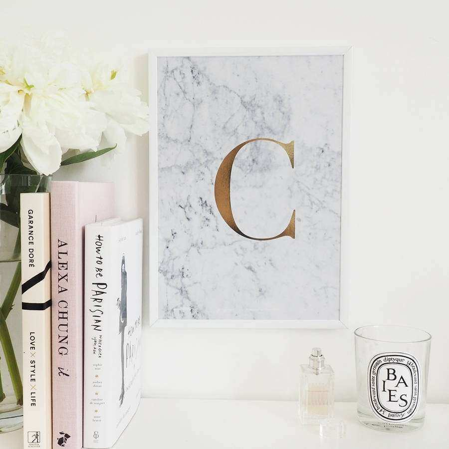 personalised monogram marble initial foil print by lily