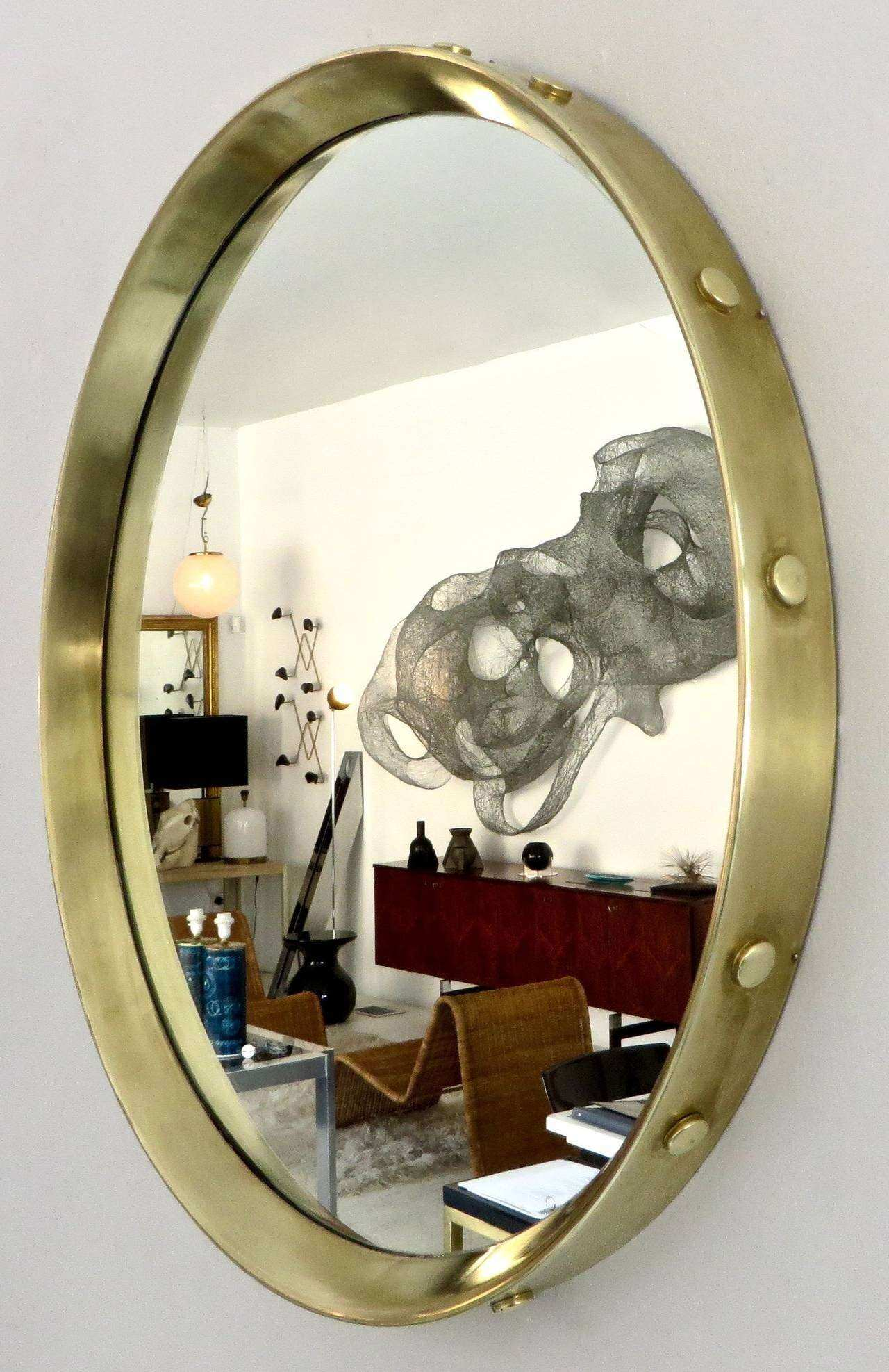 Italian Round Brass Framed Mirror with Decorative Buttons