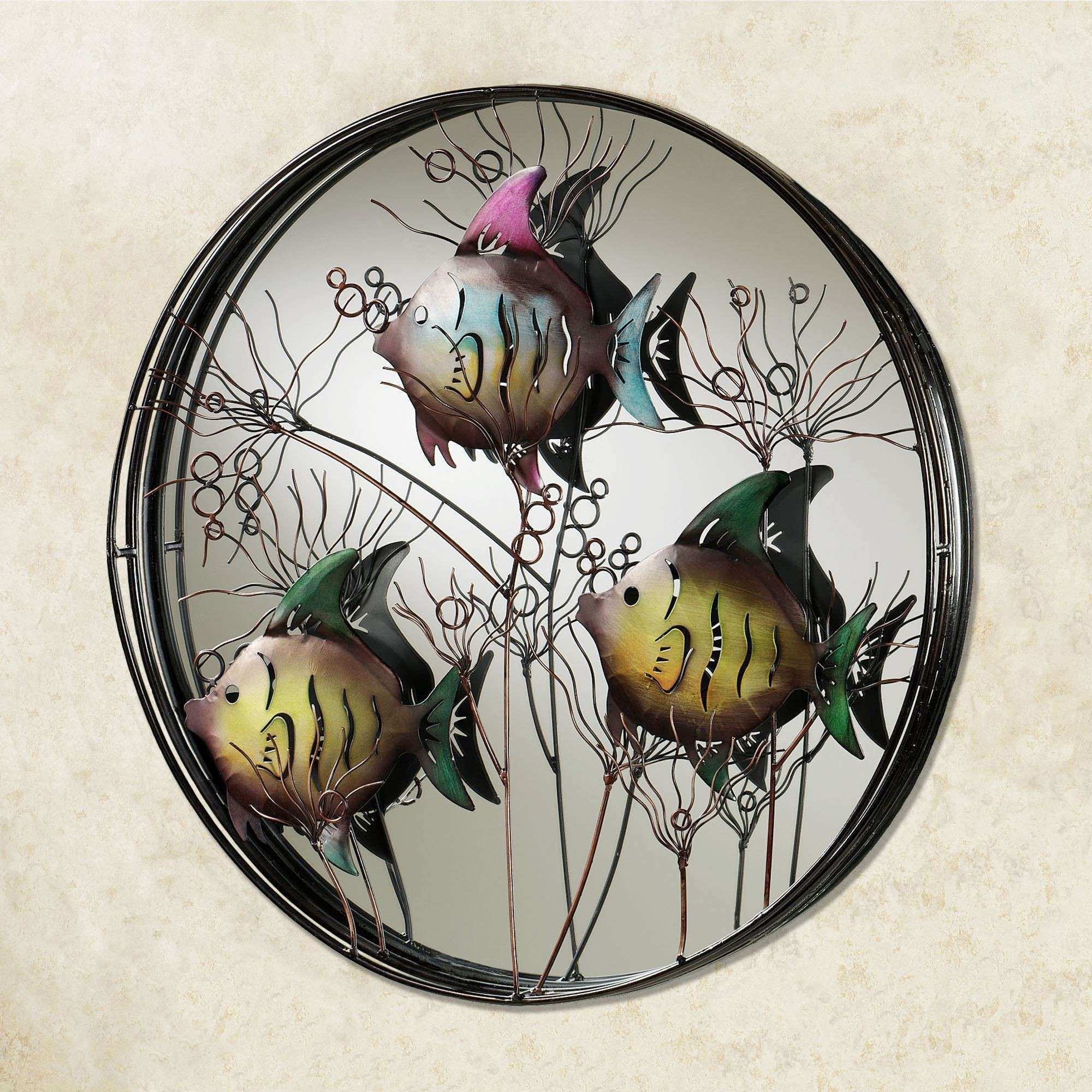 Trio of Fish Round Mirrored Metal Wall Art