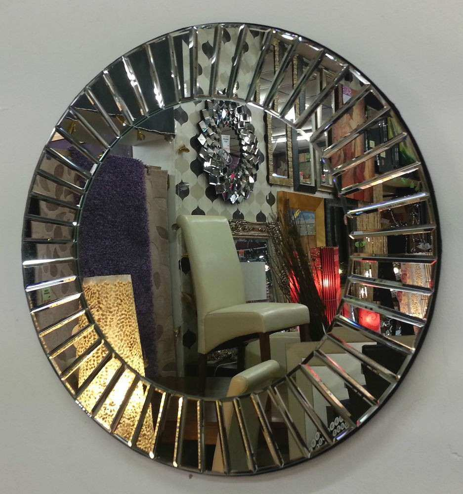 Art Deco Round Wall Mirror Multifaceted Bevelled Pieces