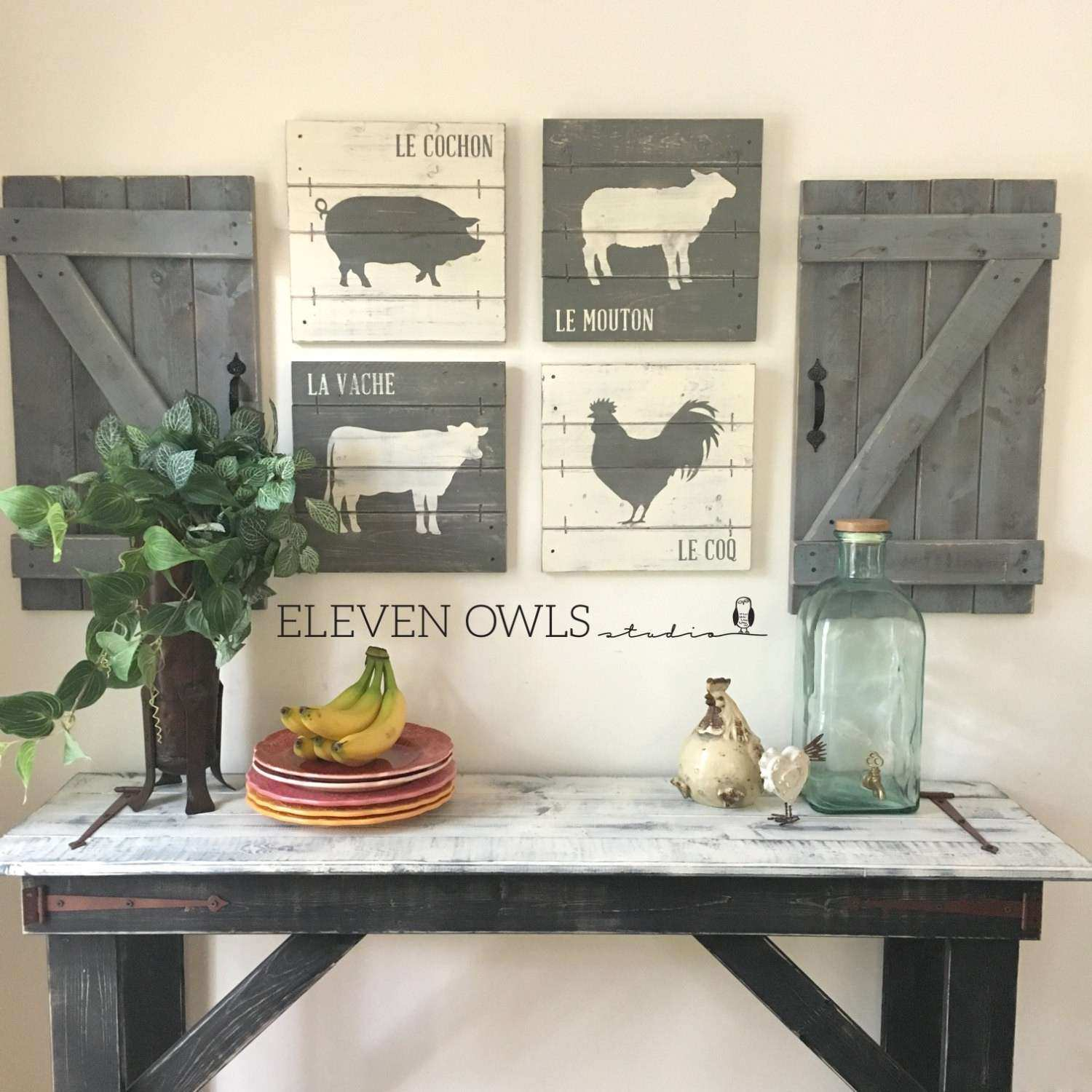Rustic Kitchen Wall Decor Best Farmhouse Animal Decor 4 Pcs Set