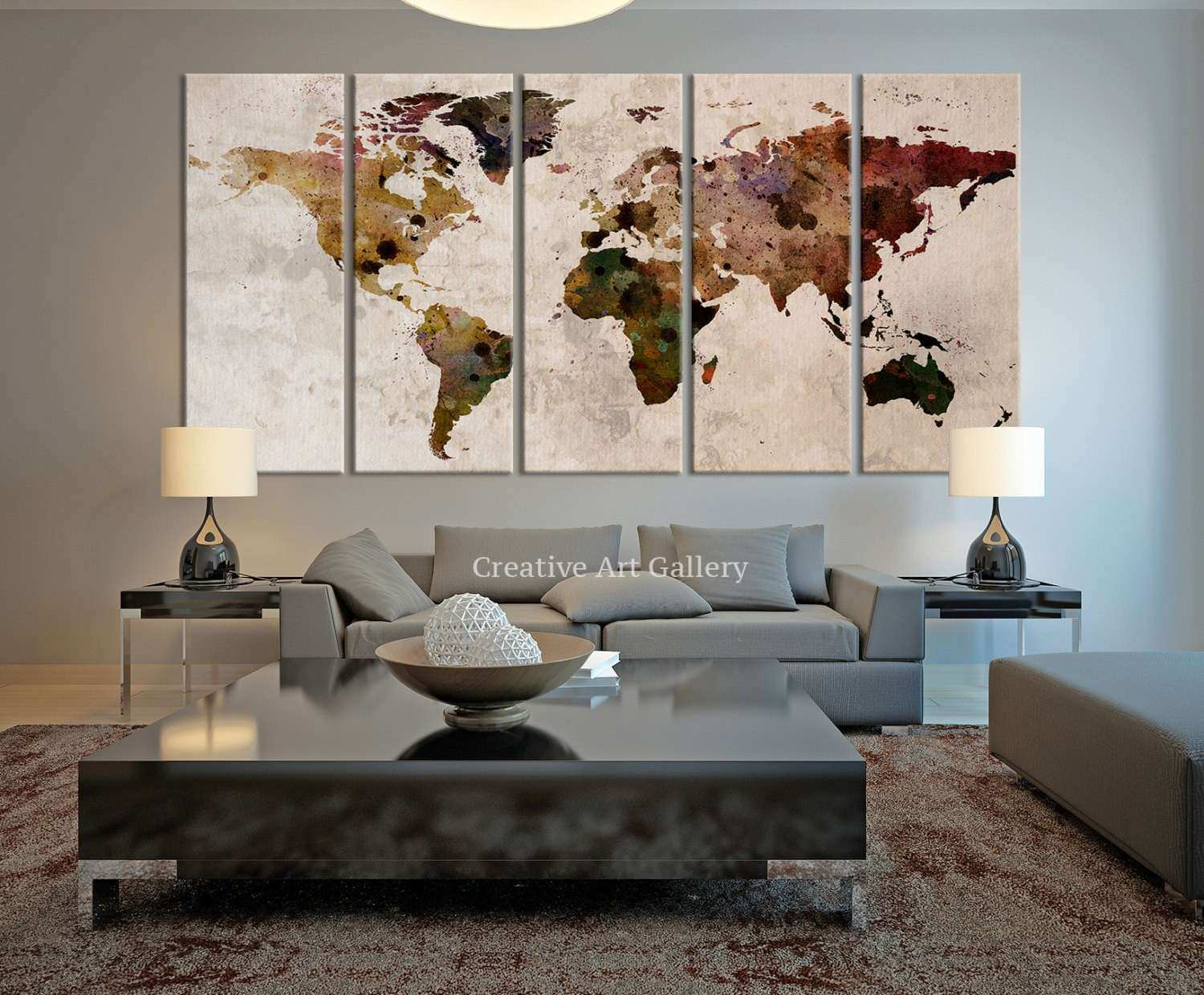 Rustic wall decor ideas new world map canvas print rustic world by rustic wall decor ideas new world map canvas print rustic world by extra wallart gumiabroncs Image collections