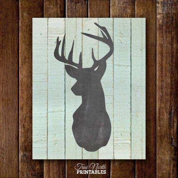 Deer Head Print Woodland Buck Antlers Wall Art Country
