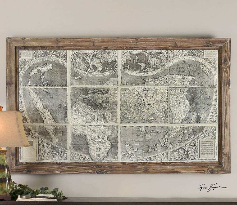 "LARGE 71"" BEAUTIFUL ANTIQUED TREASURE MAP PRINT WALL ART"