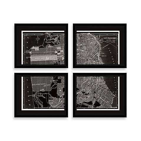 Buy San Francisco Map Four Piece Wall Art from Bed Bath