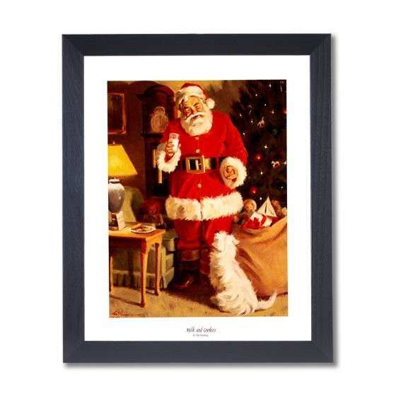 Old St Nick Santa Clause Christmas 4 Wall Picture Black