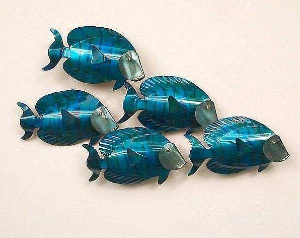 School Of Fish Wall Decor Best Tangs 5 Metal Art
