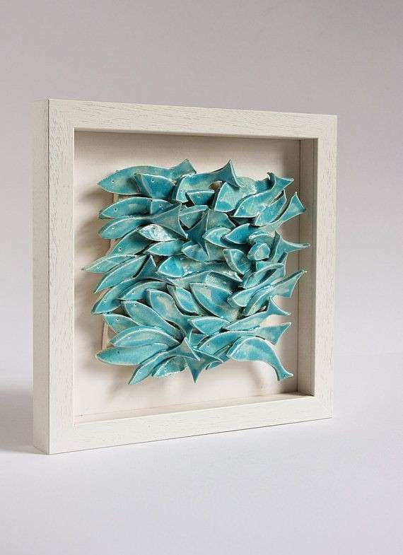Ceramic tile nautical wall art school of fish white and
