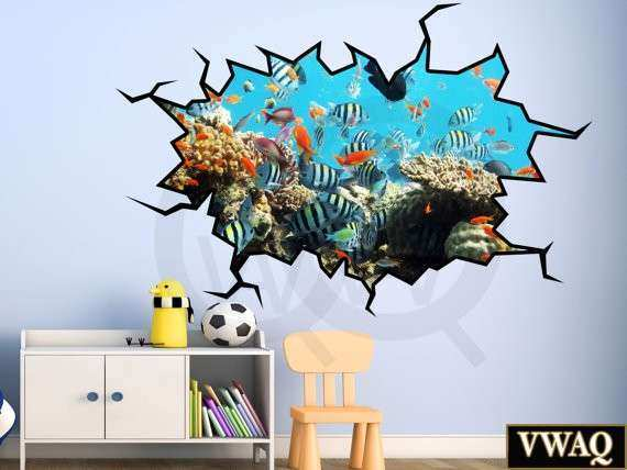 3D Wall Decor Underwater Scene Wall Sticker School of Fish