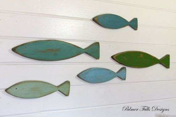 School Wood Fish Nautical Nursery Decor Fish Wall
