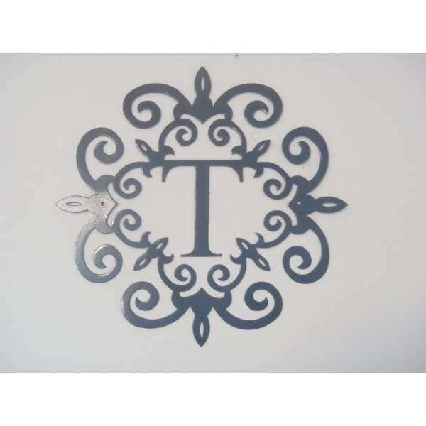 Family initial Monogram inside a Metal Scroll with T