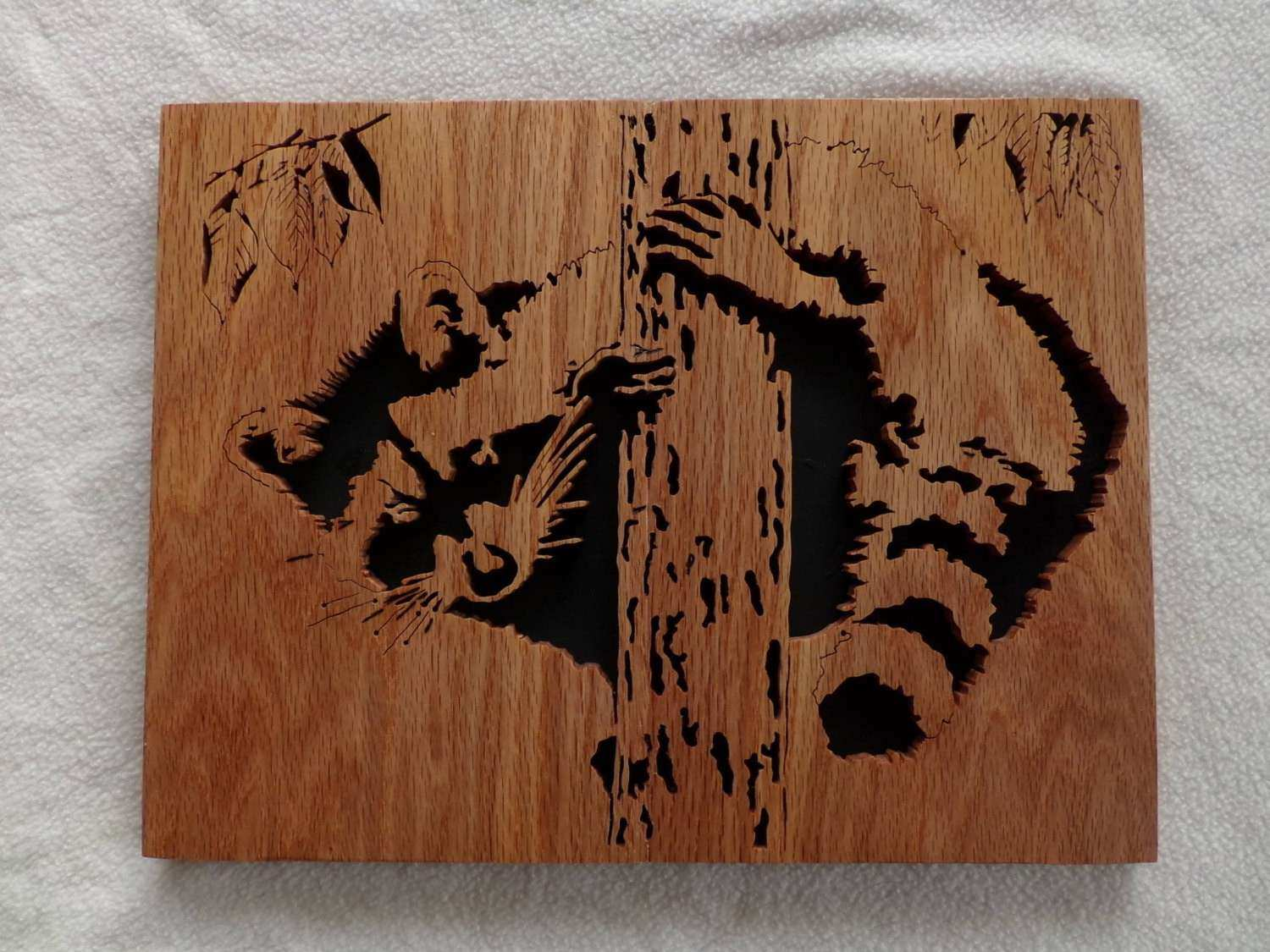Wall art Racoon Scroll Saw home decor hand made to order