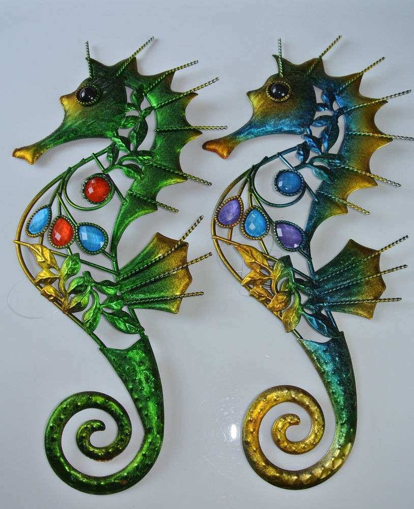 Beautiful Gem Metal Peacock Seahorse Wall Art Plaque