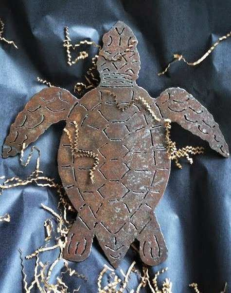 Black and White Metal Sea Turtle Wall Sculptures from The