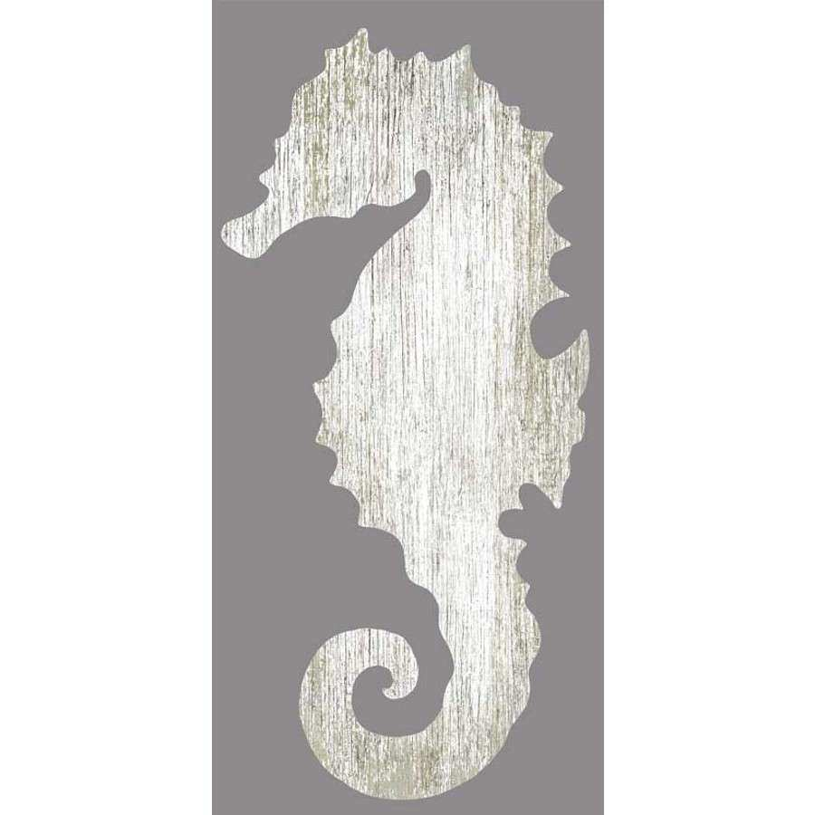 Seahorse Silhouette Facing Left Wall Art White