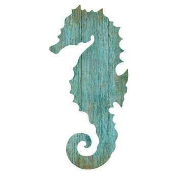 Seahorse Silhouette Facing Left Wall Art Aqua Beach