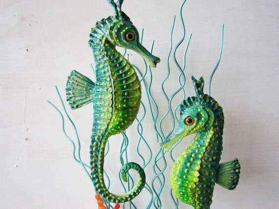 Seahorse art sculpture wall decor