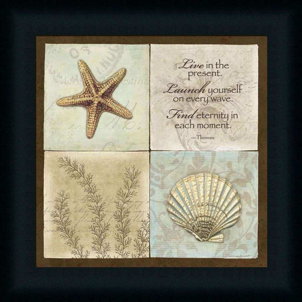 Live In The Present Starfish Seashell Thoreau Sign Framed