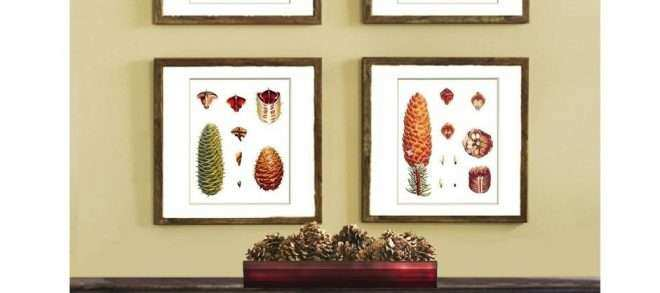 Set Of Four Wall Art Unique Pinecone Decor Set Of 4 Wall Hanging ...