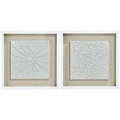 Set Of Three Framed Wall Art Lovely White Out 23 3 4\