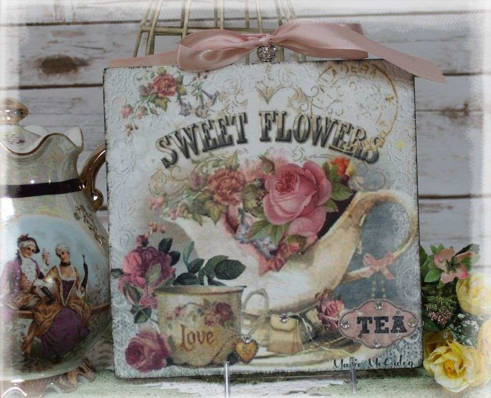 """NEW Vintage """"SWEET FLOWERS"""" Shabby Chic Country Cottage"""