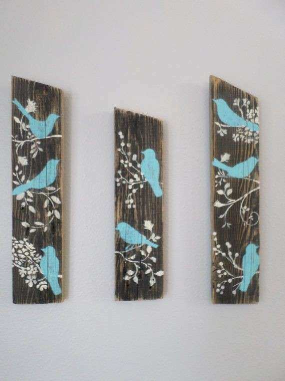 3 Relaimed Upcycled Country Custom Order Blue Birds Rustic