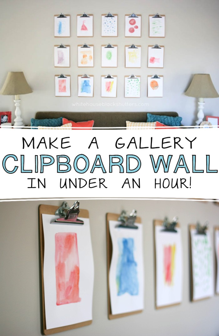 How to Make a Clipboard Wall white house black shutters