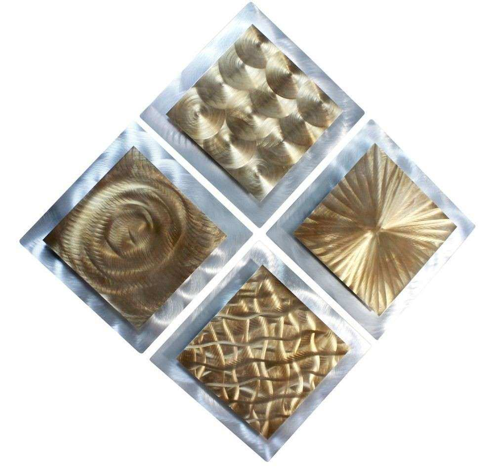Gold Silver Metal Abstract Modern Painting Wall Art Decor