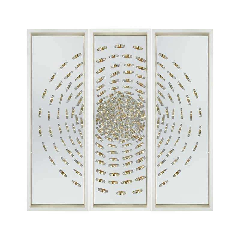 Silver and gold accented modern tryptic wall decor