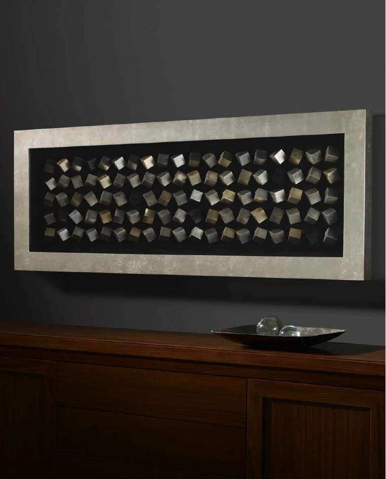 Rectangle Silver and Gold Leafed Cube Framed Box Wall Art